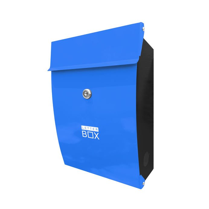 blue locking mailbox for security